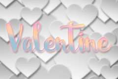 Palabra de la tarjeta del día de San Valentín en el símbolo de papel del corazón del amor de la tarjeta del día de San Valentín Foto de archivo
