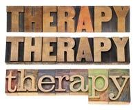 Palabra de la terapia en el tipo de madera Imágenes de archivo libres de regalías
