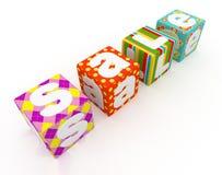 Palabra de la venta en los cubos coloridos de la tela en el fondo blanco 2 Imágenes de archivo libres de regalías