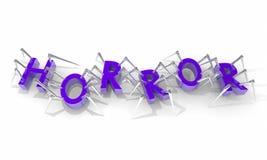 Palabra de las letras de las arañas de la película de terror stock de ilustración