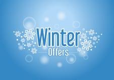 Palabra de las ofertas especiales del invierno con nieves en fondo azul ilustración del vector