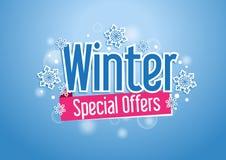 Palabra de las ofertas especiales del invierno con nieves en fondo azul stock de ilustración