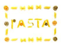Palabra de las pastas con el marco foto de archivo