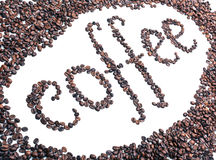 Palabra de los granos de café Fotografía de archivo