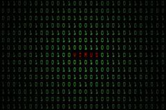 Palabra de ordenador del virus con el fondo oscuro de la tecnología o negro digital con código binario en el color verde claro 10 Foto de archivo libre de regalías