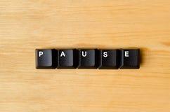 Palabra de pausa imagen de archivo