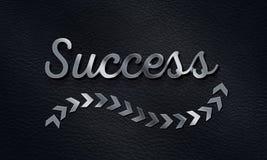 Palabra del éxito con el fondo de la muestra de la flecha, efecto metálico del texto 3D Fotografía de archivo