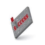 Palabra del éxito en el ejemplo de la pared del bloque 3D Imagen de archivo libre de regalías