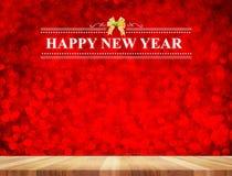 Palabra del Año Nuevo de RHappy en sitio de la perspectiva con el boke chispeante rojo Fotos de archivo libres de regalías