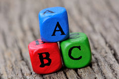 Palabra del ABC en la tabla Fotos de archivo libres de regalías