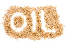 Palabra del aceite de girasol de las semillas de girasol foto de archivo