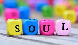 Palabra del alma en la tabla imágenes de archivo libres de regalías