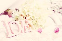 Palabra del amor como detalle de la boda Imágenes de archivo libres de regalías