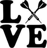 Palabra del amor con las flechas cruzadas de los dardos ilustración del vector