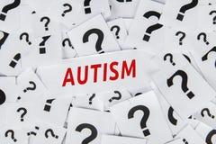 Palabra del autismo con los signos de interrogación imágenes de archivo libres de regalías