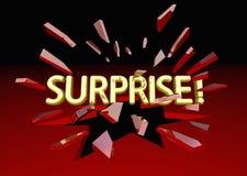 Palabra del choque de la sorpresa que rompe el vidrio rojo ilustración del vector