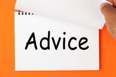 Palabra del consejo en el cuaderno fotografía de archivo
