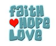 Palabra del corazón del amor de la esperanza de la fe Foto de archivo libre de regalías