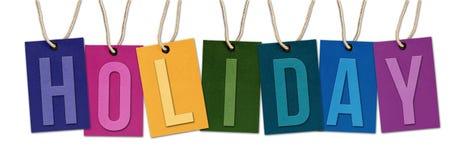 Palabra del DÍA DE FIESTA en etiquetas multicoloras Fotografía de archivo libre de regalías