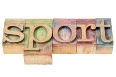 Palabra del deporte en el tipo de madera Imágenes de archivo libres de regalías