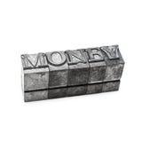 Palabra del dinero, prensa de copiar Fotografía de archivo libre de regalías