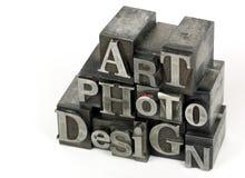 Palabra del DISEÑO de la FOTO del ARTE Foto de archivo