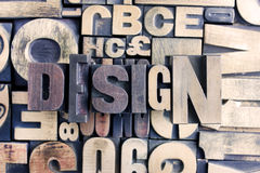 Palabra del diseño en la prensa de copiar Fotografía de archivo