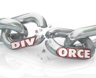 Palabra del divorcio que rompe boda de la separación de las alambradas ilustración del vector