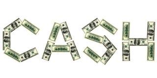 Palabra del efectivo del dólar Imágenes de archivo libres de regalías