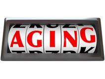 Palabra del envejecimiento el tiempo del odómetro que pasa conseguir más viejo Imagen de archivo