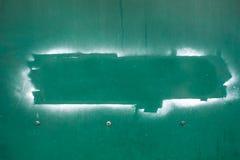 Palabra del espacio en la pared verde del hierro Foto de archivo libre de regalías