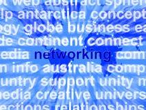 Palabra del establecimiento de una red sobre fondo del mundo Imagen de archivo