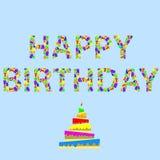 Palabra del feliz cumpleaños stock de ilustración