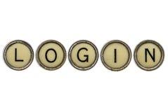 Palabra del inicio de sesión en llaves de la máquina de escribir Imagenes de archivo