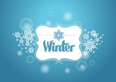 Palabra del invierno con nieves en fondo azul libre illustration