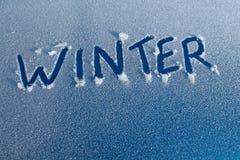 Palabra del invierno en el coche Frost Imagen de archivo libre de regalías