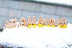 Palabra del invierno integrada por los coches de tren de madera de las letras de la lengua rusa en la nieve blanca Decoraciones d imagen de archivo libre de regalías
