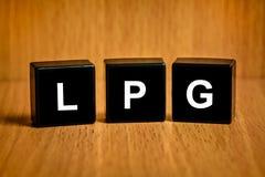 Palabra del LPG o del gas de petróleo licuado en bloque negro Foto de archivo libre de regalías