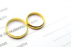Palabra del marido de la cubierta del anillo Imagen de archivo
