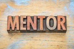 Palabra del mentor en el tipo de madera imágenes de archivo libres de regalías