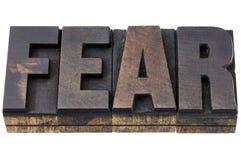 Palabra del miedo en el tipo de madera foto de archivo libre de regalías