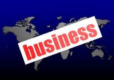 Palabra del negocio en el mapa del mundo azul Imagen de archivo libre de regalías