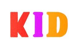 Palabra del niño con las letras de madera Imagen de archivo
