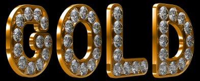 Palabra del oro incrusted con los diamantes Imágenes de archivo libres de regalías