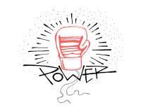 Palabra del poder y ejemplo del guante de boxeo Imagen de archivo