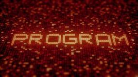 Palabra del PROGRAMA que es hecha con símbolos del ordenador en una pantalla roja representaci?n imágenes de archivo libres de regalías