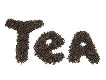 Palabra del té, hecha de las hojas de té Foto de archivo libre de regalías