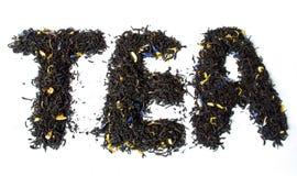 Palabra del TÉ hecha de té negro gris del conde Imágenes de archivo libres de regalías