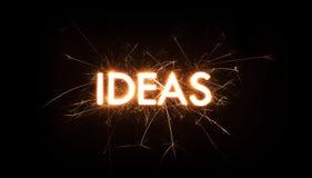 Palabra del título de las IDEAS en bengala que brilla intensamente Foto de archivo libre de regalías