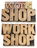 Palabra del taller en el tipo de madera Imagenes de archivo